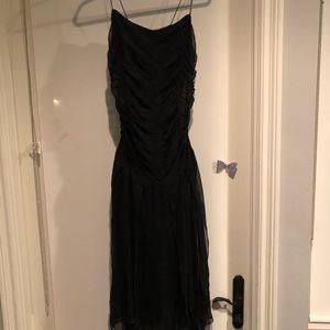 David Meister silk ripped bottom dress